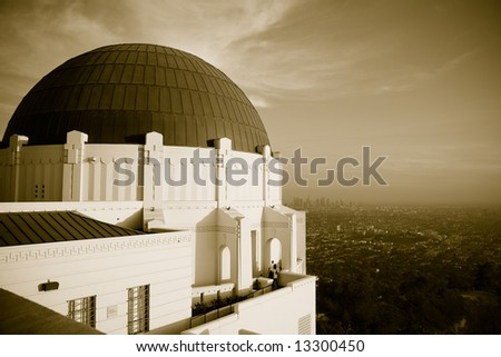 Horizontal image of Griffth Observatory and view of Los Angeles - stock photo