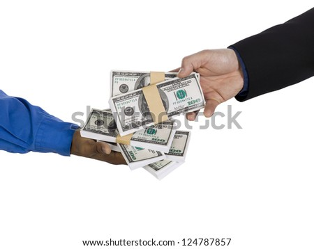 Horizontal image of two business people making a money deal over the white background
