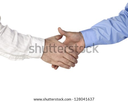 Horizontal image of two person going to have a handshake