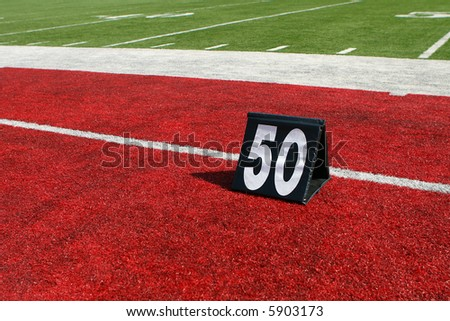 horizontal image of 50-yard line marker