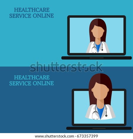 Horizontal Medical Banners Advice Online Telemedicine Woman Doctor On Laptop Screen