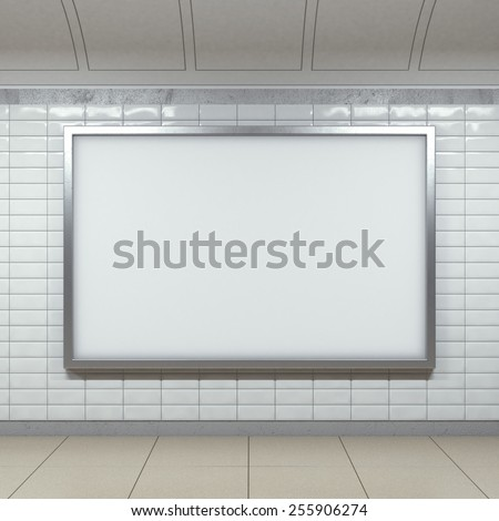 horizontal metal billboard on bright metro station. 3d rendering - stock photo