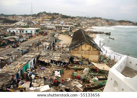 Horizontal of houses in Cape Coast township from castle - stock photo