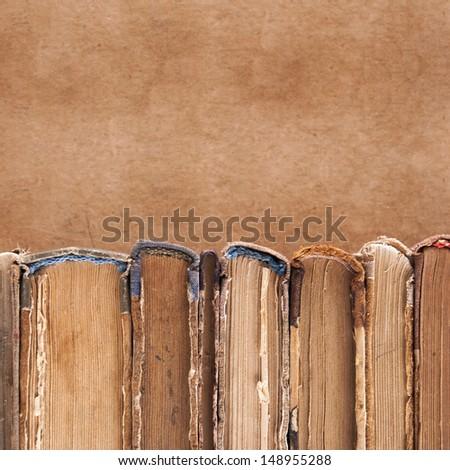 Horizontal old books background. - stock photo