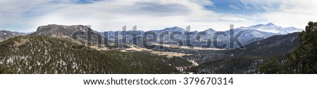 horizontal orientation color image Panorama of Rocky Mountain National Park, with Mt. Meeker and Long's Peak to the right / Panorama of Rocky Mountain National Park with Mt. Meeker and Long's Peak - stock photo