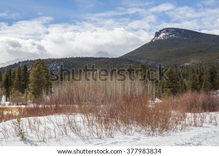 horizontal orientation image of Rocky Mountain National Park views during winter, near Lily Lake / Views from Lily Lake in Rocky Mountain National Park in Winter - stock photo
