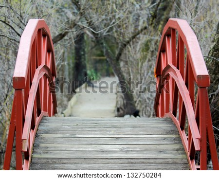horizontal orientation of bright red foot bridge with shallow depth of field and walking path beyond with  copy space included / Invitation to the Path Beyond - stock photo