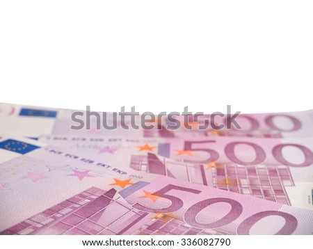 Horizontal oriented five hundred euro banknotes isolated on white - stock photo