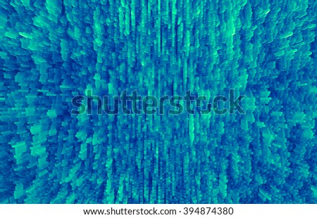 Horizontal pale green extruded 3d cubes abstract backdrop - stock photo