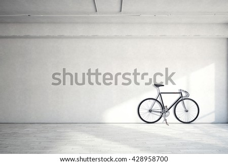 Horizontal Photo Blank Grungy Smooth Bare Concrete Wall in Modern Loft Studio with Classic bicycle. Soft Sunrays Reflecting on Wood Surface. Empty Abstract background - stock photo