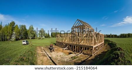 horizontal photo building site framehouse on nature - stock photo