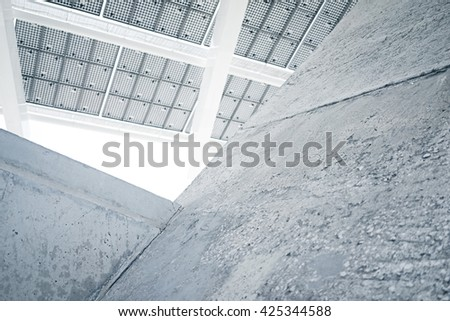 Horizontal Photo Modern Solar Panel with Blank Light Concrete Blocks. Contemporary Building Architecture. Empty Abstract background - stock photo