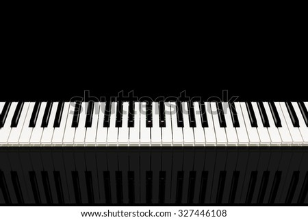 horizontal photo of beautiful classical piano keys & reflection. isolated on black and copy space for music background - stock photo
