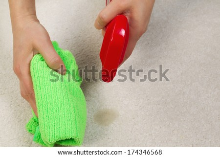 Horizontal photo of female hands cleaning stain in carpet with spray bottle and microfiber cloth - stock photo