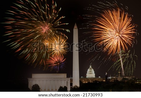 Horizontal Photo of fireworks above Lincoln Memorial, US Capitol and Washington Monument in Washington DC - stock photo