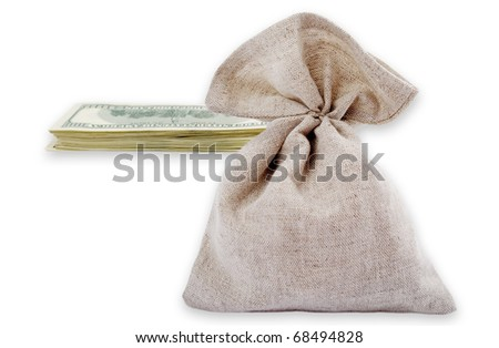 Horizontal photo with bag and dollars isolated on the white background.