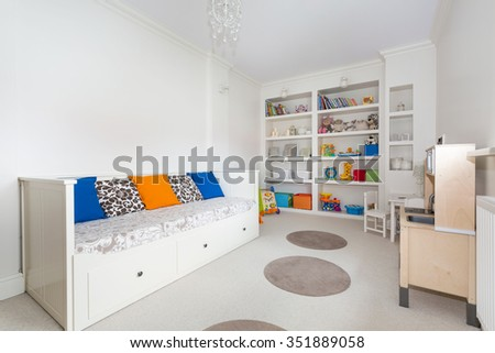 Horizontal picture of bright and colorful room for a kid