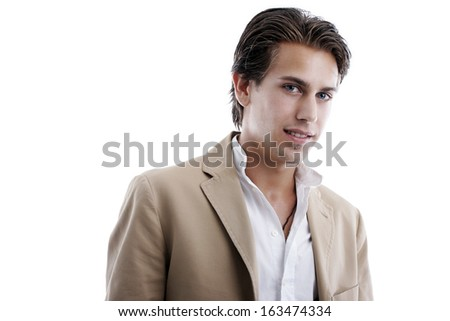 Horizontal portrait of a seductive, handsome young man, isolated on white background - stock photo