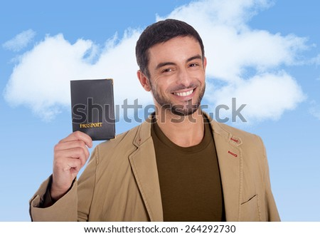 horizontal portrait young attractive traveler man holding passport smiling happy and confident on a blue sky background in tourism, holidays and business travel concept - stock photo