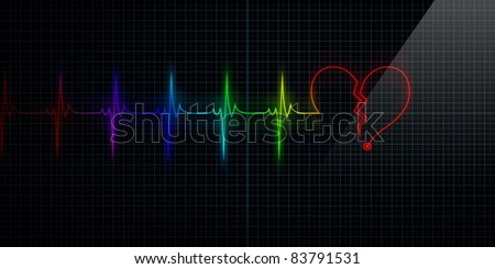Horizontal Pulse Trace Heart Monitor with the symbol of a colorful broken heart in line with the pulse. Concept for broken heart or heart attack.