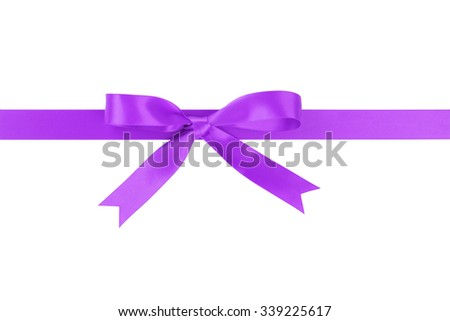 horizontal purple ribbon with bow from above, isolated on white