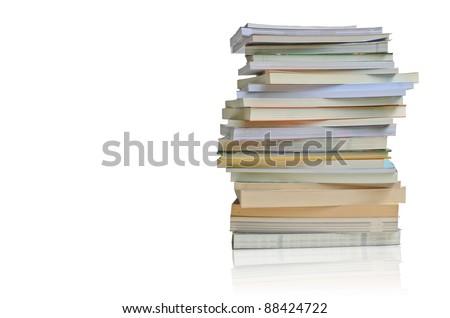 horizontal random book stack - stock photo