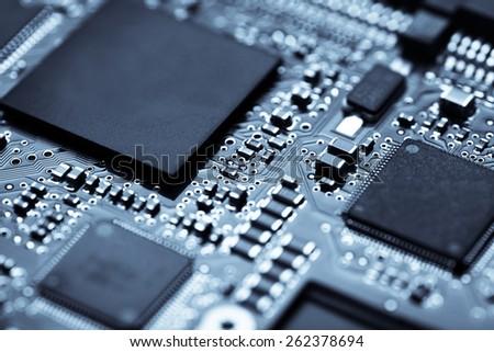 Horizontal shot of an electronic micro circuit. - stock photo