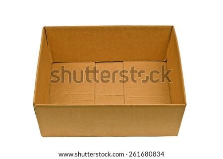 Horizontal Shot Of Empty Cardboard Box With Flaps Tucked Inside - stock photo