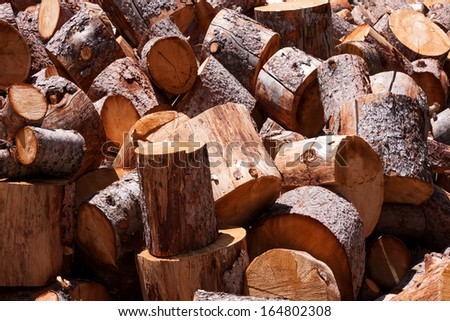 Horizontal shot of freshly cut firewood logs in a stack