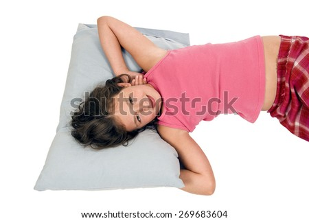 Horizontal Shot Of Girl Waking Up With A Smile/ Girl Waking Up With A Smile - stock photo