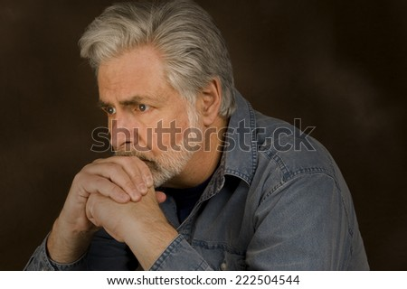 Horizontal Shot Of Man Worried/ Worried Man - stock photo