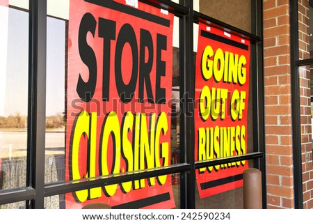Horizontal Shot Of Signs Of The Recession/ Going Out Of Business - stock photo