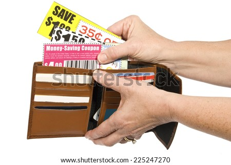 Horizontal Shot/ Thrifty Shopper Using Coupons/ Isolated On White/ Coupons Are Not Real - stock photo