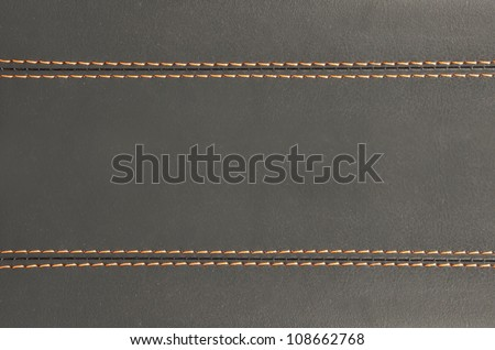 horizontal stitched leather background and  texture , art wallpaper - stock photo