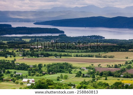 Horizontal Vermont Countryside scene looking towards Lake Champlain and the Adirondack Mountains.  The shot was taken from Mount Philo State Park