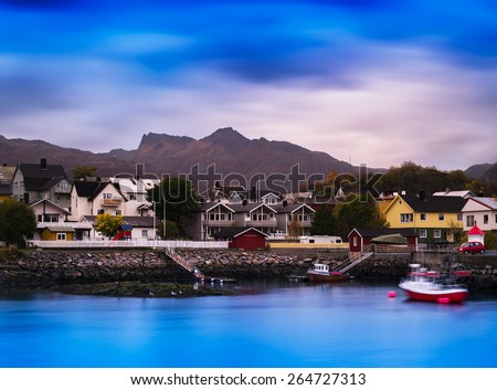 Horizontal vibrant vivid Norway small town background backdrop
