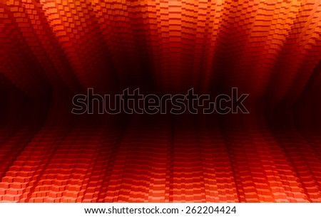 Horizontal vibrant vivid red business presentation 3d extruded cubes tunnel abstraction background backdrop - stock photo