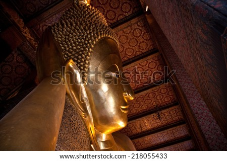 Horizontal view from half of reclining buddha in Wat Pho of Bangkok, Thailand
