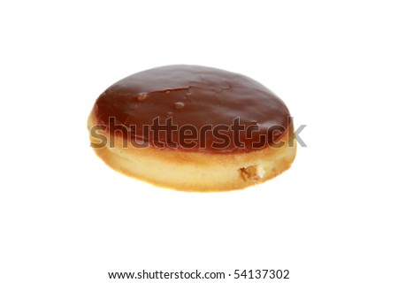 Horizontal view of an cream filled chocolate glazed donut isolated on white