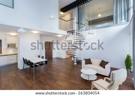 Horizontal view of beauty interior in contemporary design - stock photo