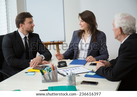 Horizontal view of business conference in modern office