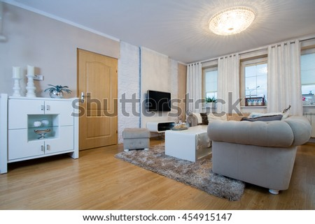 Horizontal view of elegant living room interior