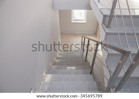Horizontal view of empty staircase in detached house