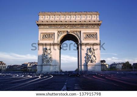 Horizontal view of famous Arc de Triomphe, Paris, France - stock photo