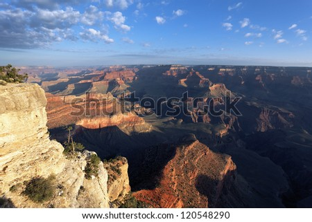 horizontal view of Grand Canyon at sunrise, Arizona, USA