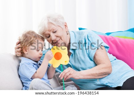 Horizontal view of grandma's love at home - stock photo