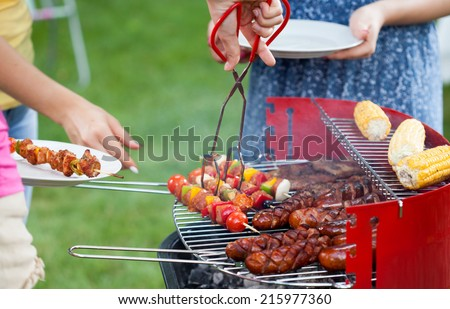 Horizontal view of grill party in a garden - stock photo
