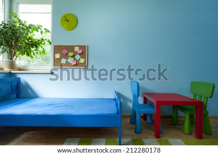 Horizontal view of interior of child room - stock photo