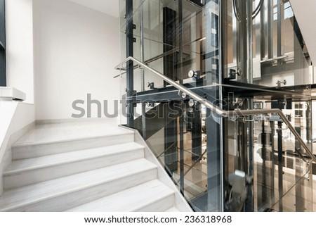 Horizontal view of interior of corporate building - stock photo