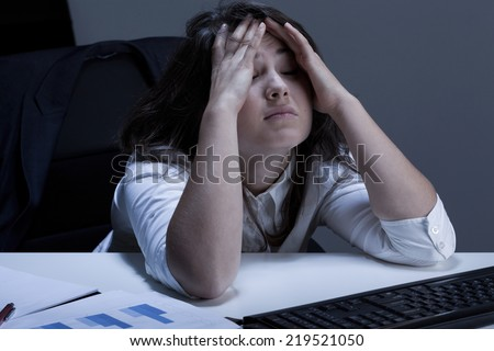 Horizontal view of long day at work - stock photo